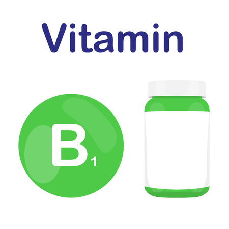 b1: Vitamin B1 B 1 with bottle of pills tablets capsules. Red circle. Isolated icon. Vector illustration