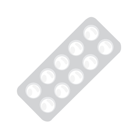 a tablet blister: Vector illustration white pills blister. Tablet strip icon. Round pills in a blister pack Illustration