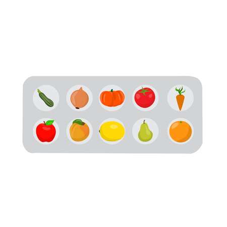 Pills that look like fruits and vegetables in a blister pack. Pills set. Vector illustration