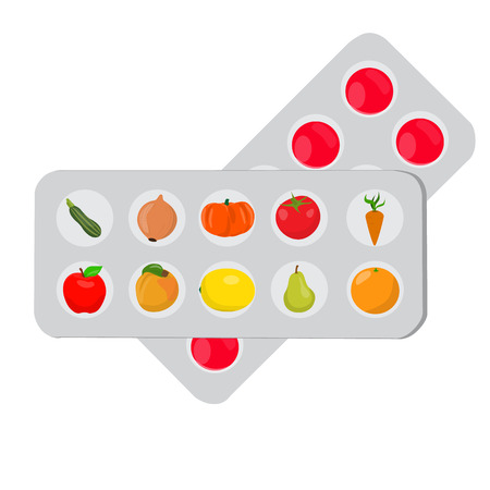 medicaments: Pills that look like fruits and vegetables in a blister pack. Pills set. Vector illustration