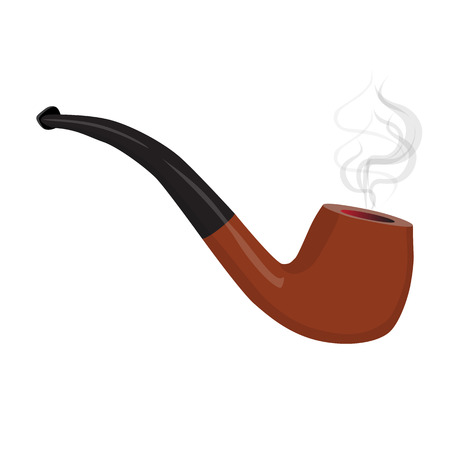 Brown smoking pipe with smoke. Tobacco pipe isolated. Vector illustration Illustration