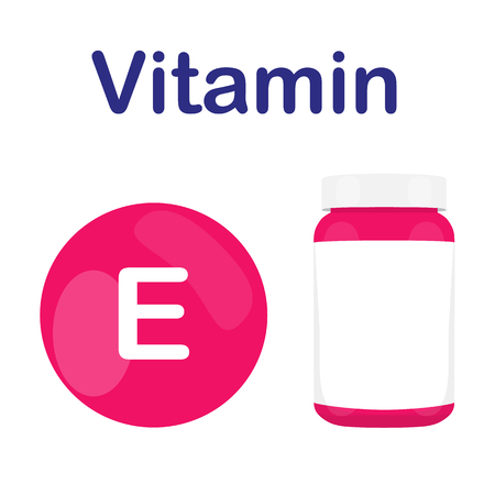 vitamin e: Vitamin E with bottle of pills tablets capsules. Red circle. Isolated icon. Vector illustration