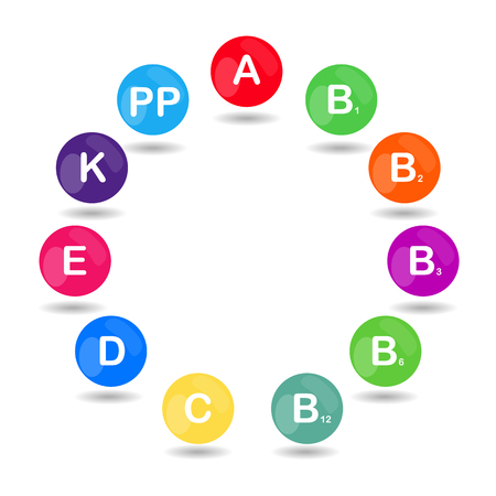 b1: Vector colorful set of the rainbow colored bubble vitamins for your infographic. Circle. Vector illustration