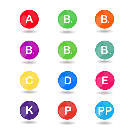 Vitamins with bright color balls for science articles, medicine and health magazines Illustration