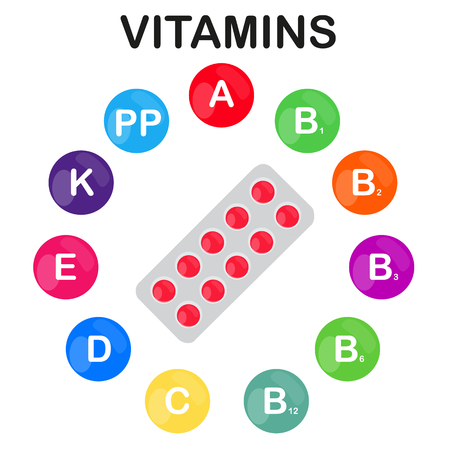 Vector colorful set of the rainbow colored bubble vitamins for your infographic. Circle with blister of pills. Vector illustration