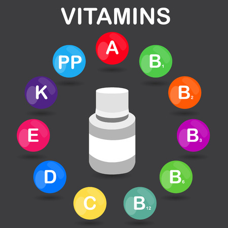ascorbic: Vector colorful set of the rainbow colored bubble vitamins for your infographic. Circle with jar of pills. Vector illustration