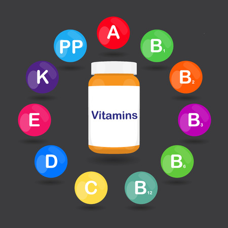 Vector colorful set of the rainbow colored bubble vitamins for your infographic. Circle with bottle or jar of pills. Vector illustration