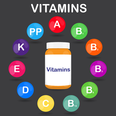 ascorbic acid: Vector colorful set of the rainbow colored bubble vitamins for your infographic. Circle with bottle or jar of pills. Vector illustration