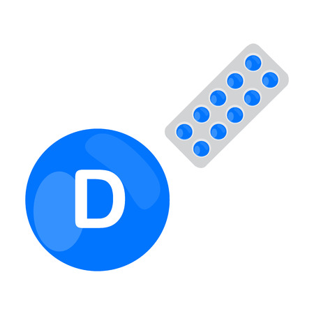 Vitamin D with blister of pills tablets capsules. Blue circle. Isolated icon. Vector illustration