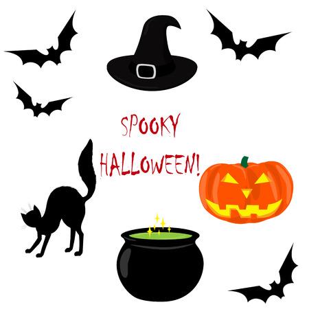 Spooky Halloween. Halloween icons set. Bat, cat, cauldron of magic potion, witch hat, pumpkin lantern. Vector illustration