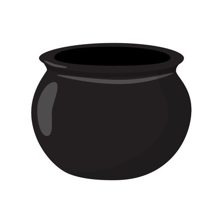cast iron: cauldron empty black vector illustration