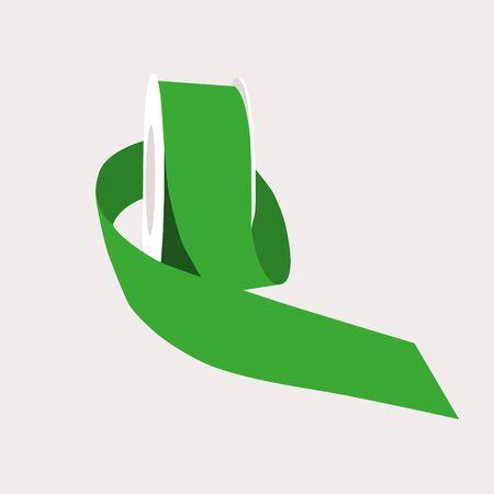 green wrapping ribbon tape vector illustration Illustration