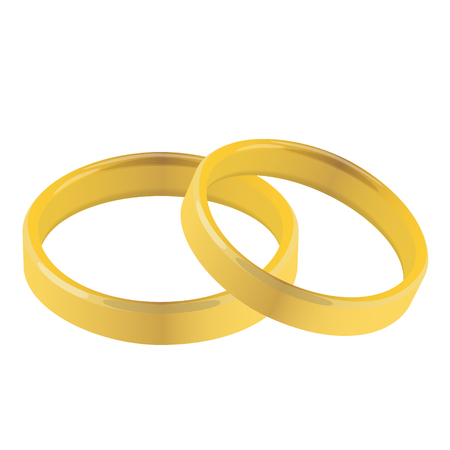 pair of golden wedding rings vector illustration