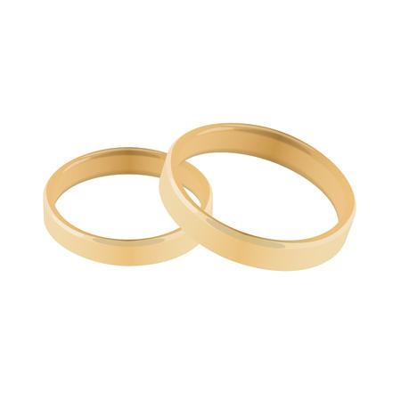 the pair: pair of golden wedding rings vector illustration