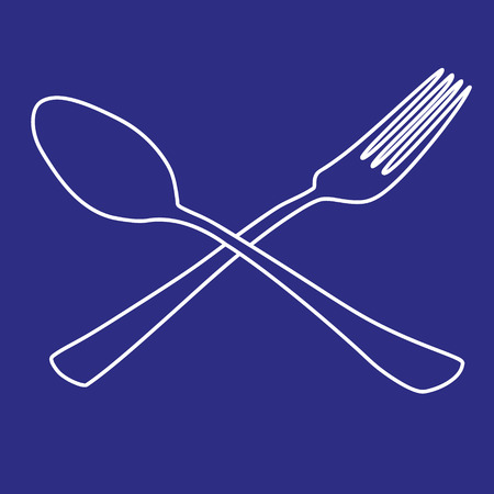 tablespoon: tablespoon fork outline icon vector illustration Illustration