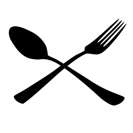 tablespoon: tablespoon fork black icon vector illustration