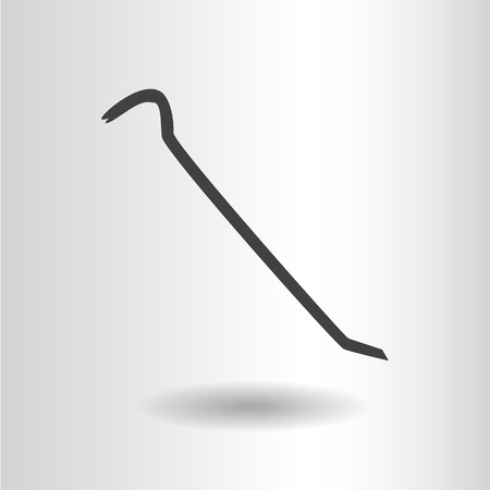 pry: icon silhouette isolated crowbar black vector illustration