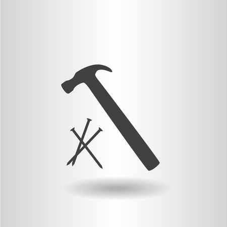 icon silhouette isolated hammer with nails black icon vector illustration