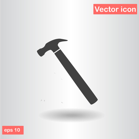 hammer black icon flat vector illustration