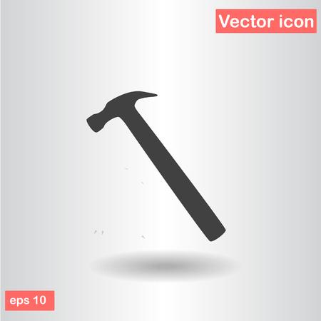 impact tool: hammer black icon isolated flat vector illustration