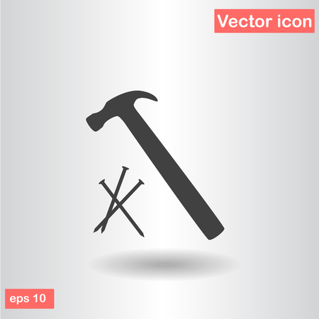 hammer with nails black icon vector illustration