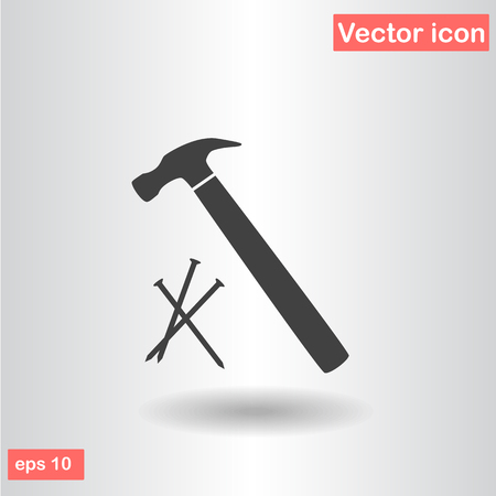hammer with nails icon vector illustration