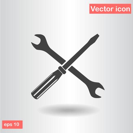 screwdriver: wrench screwdriver black set icon vector illustration Illustration
