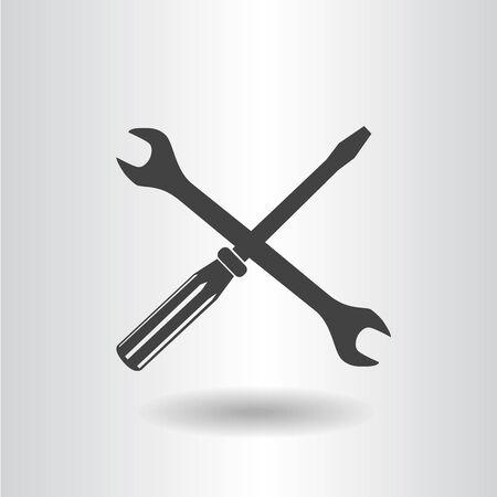 silhouette isolated wrench screwdriver black set icon vector illustration Vektoros illusztráció