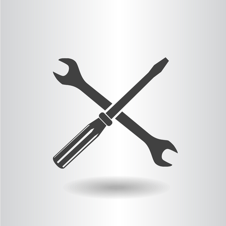 silhouette isolated wrench screwdriver black set icon vector illustration