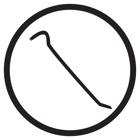 crowbar: icon crowbar black silhouette in circle vector illustration