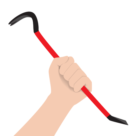 hand holding red black steel crowbar vector illustration