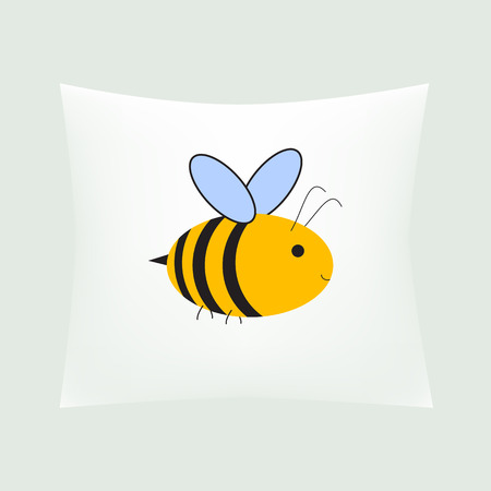 bolster: small white realistic domestic decorative pillow with bee isolated vector illustration