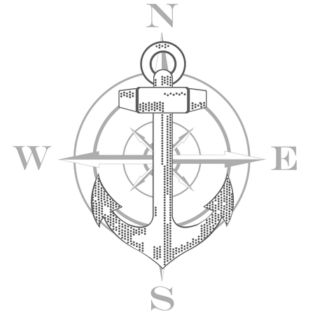 wind rose: Nautical emblem. Anchor and wind rose. Flat design. Vector illustration Illustration