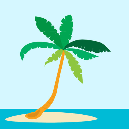 palm tree tropical island in the sea vector illustration