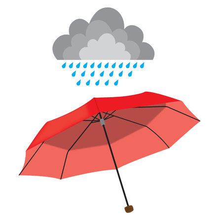 ellements: Red opened umbrella isolated on white background with weather ellements. Rain, sun, cloud, couds. vector illustration