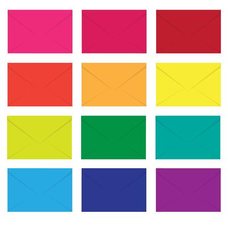colourfull: envelopes colourfull set vector illustration