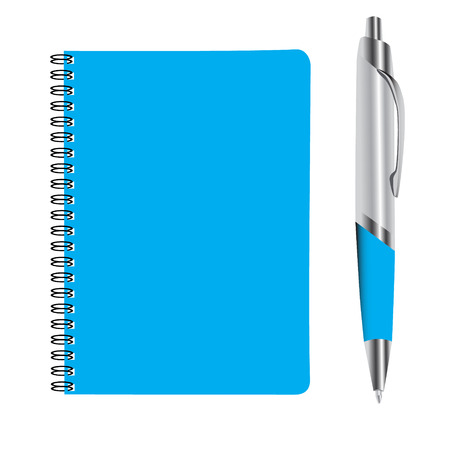 workbook: business blue note book and pan set vector illustration