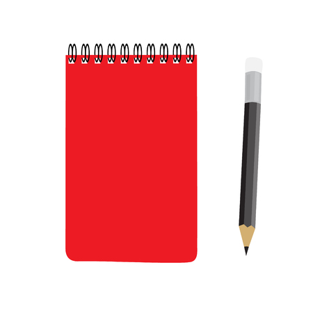 workbook: business red note book and pencil set vector illustration