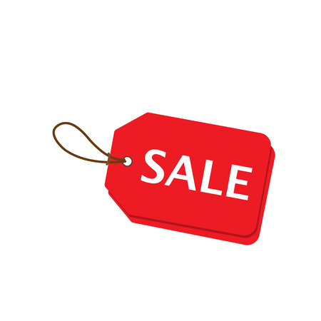 right side: Red sale price tags set. Horizontal right side alignmentment Sale tag. Vector illustration. Illustration