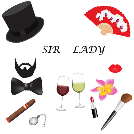 sir: Sir and Lady accessories set. Concept of personal accessories. Vector illustration. Illustration