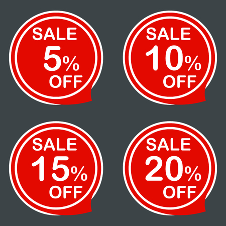 15 to 20: Discount sale price tags labels stikers. Icons isolated. Flat design style. Icon set. 5 10 15 20 % Vector illustration