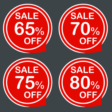 75 80: Discount sale price tags labels stikers. Icons isolated. Flat design style. Icon set. 65 30 75 80 % Vector illustration