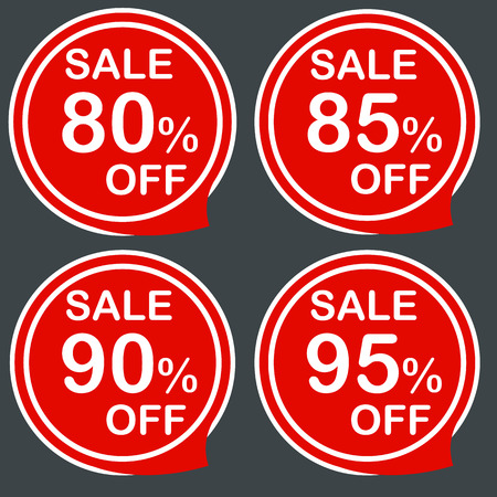 80 85: Discount sale price tags labels stikers. Icons isolated. Flat design style. Icon set. 80 85 90 95 % Vector illustration