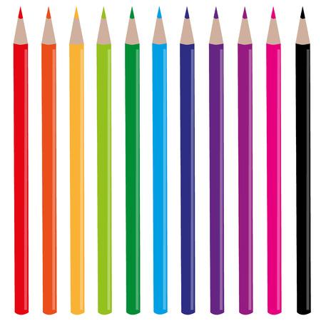 rainbow pencils set vector illustration