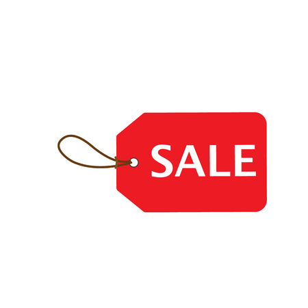 right side: Red Sale price tag. Horizontal right side alignmentment Sale tag. Vector illustration.