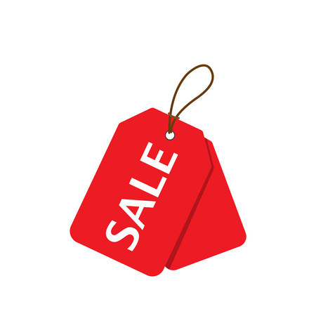 Red sale price tags set. Vertical alignment Sale tag. Vector illustration.