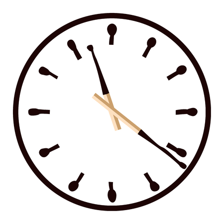 burning time: Clock with burnt matches dial. Time is burning. Vector illustration