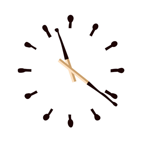burnt: Clock with burnt matches dial. Time is burning. Vector illustration