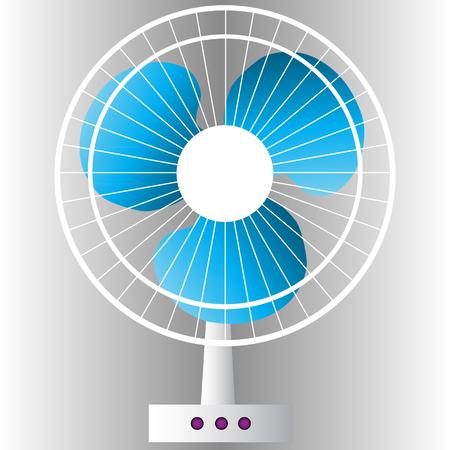 white fan: blue white electronic fan isolated vector illustration Illustration