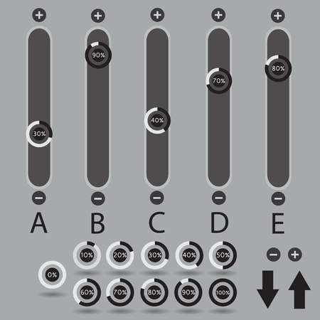 switches: Dark slide switches web design elements set. Mixer sliders. Buttons. Template for app and website. Vector illustration Illustration